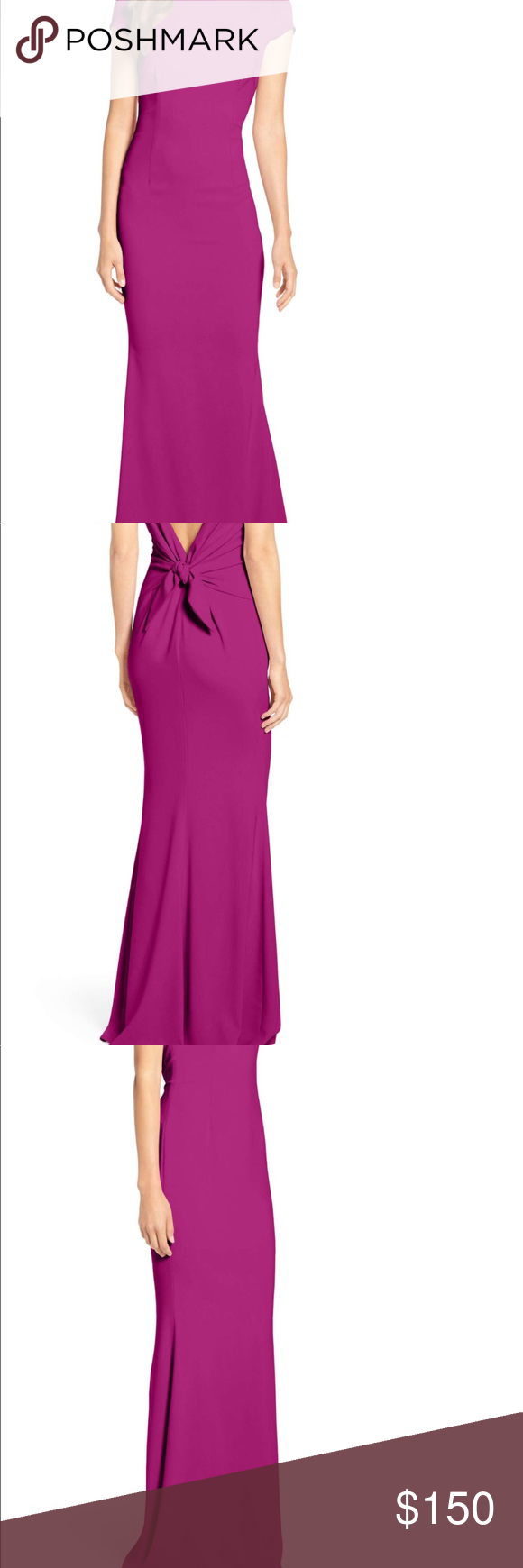 Katie May Plunge Knot Back Gown Plunging back gathered in a chic ...