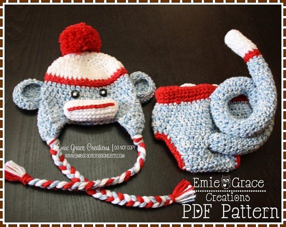 Sock monkey hat and diaper cover crochet pattern set sam sally sock monkey hat and diaper cover crochet pattern set sam sally 126 dt1010fo