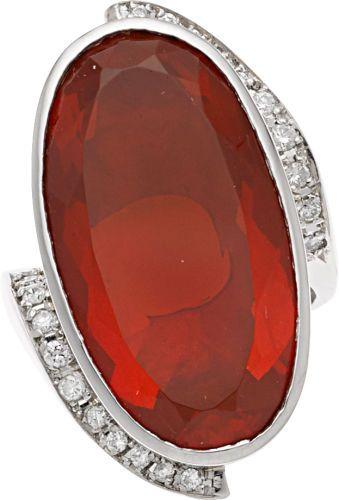 f813d7b2c Estate Jewelry:Rings, Fire Opal, Diamond, Platinum Ring ...