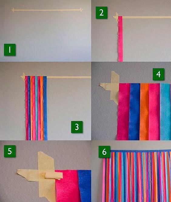 Cortinas de papel crepe paso a paso cumples pinterest for Decoracion con cenefas de papel