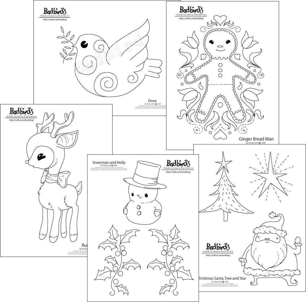Christmas Embroidery Pattern Set.