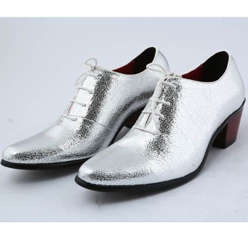 Metallic Silver High Heel Wedding Prom Dress Oxfords Shoes for Men ...