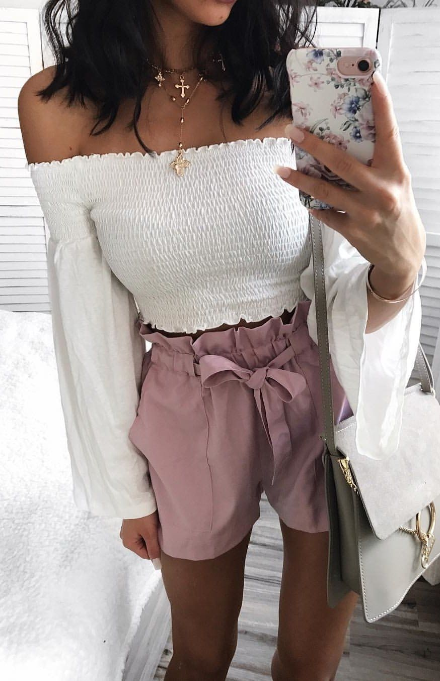 Fall outfits white off the shoulder top blush short stylewriter