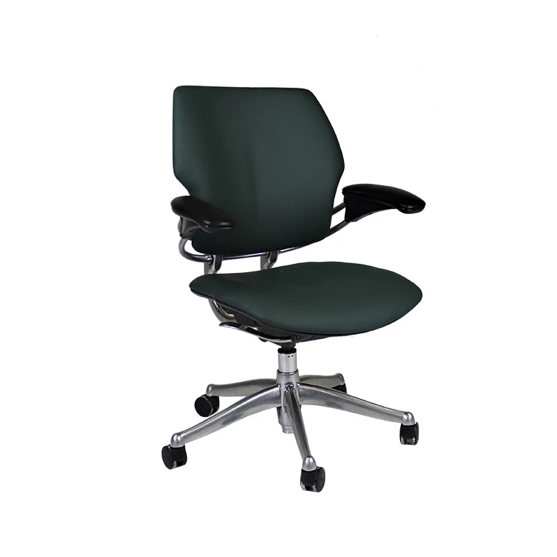 Humanscale Freedom Low Back With Aluminium Frame In New Green Leather In 2020 Quality Office Furniture New Green Green Leather