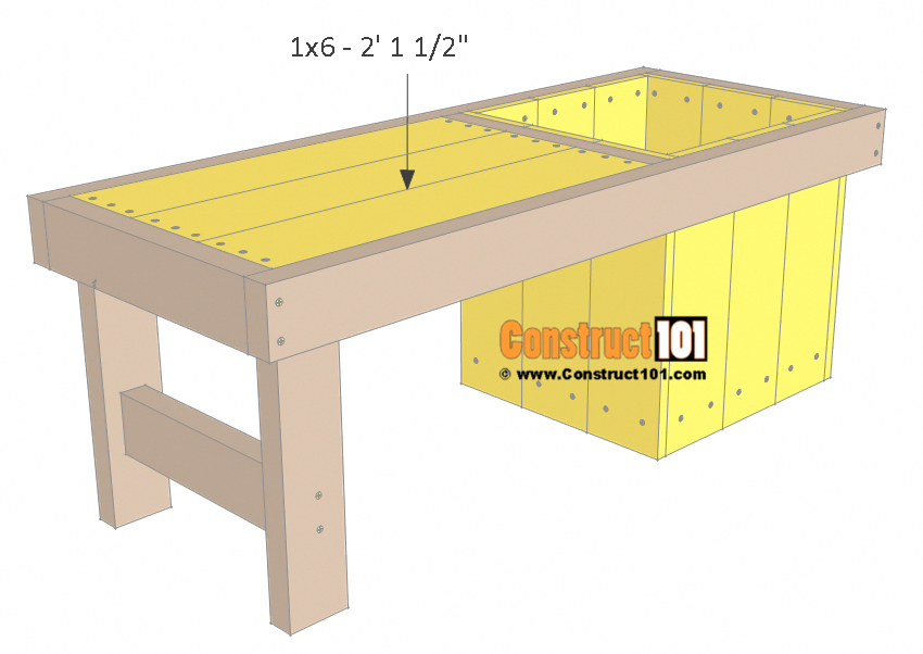 DIY Small Planter Bench - Free Plans - PDF Download - Construct101 #OutdoorWoodworkingTools
