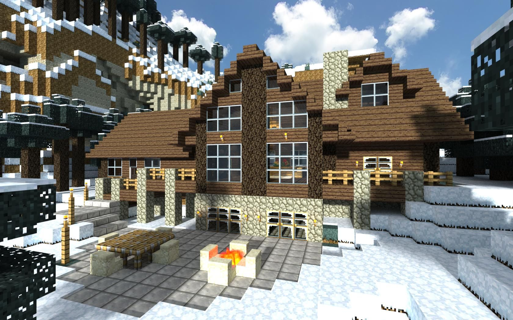 This is  perfect cabin it has great terrain if  made that also pin by claire choinka on minecraft pinterest rh