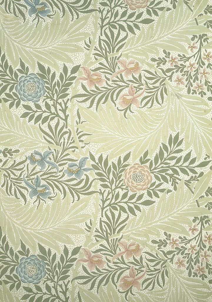 William Morris, Larkspur wallpaper. Block-printed paper (c.1875)