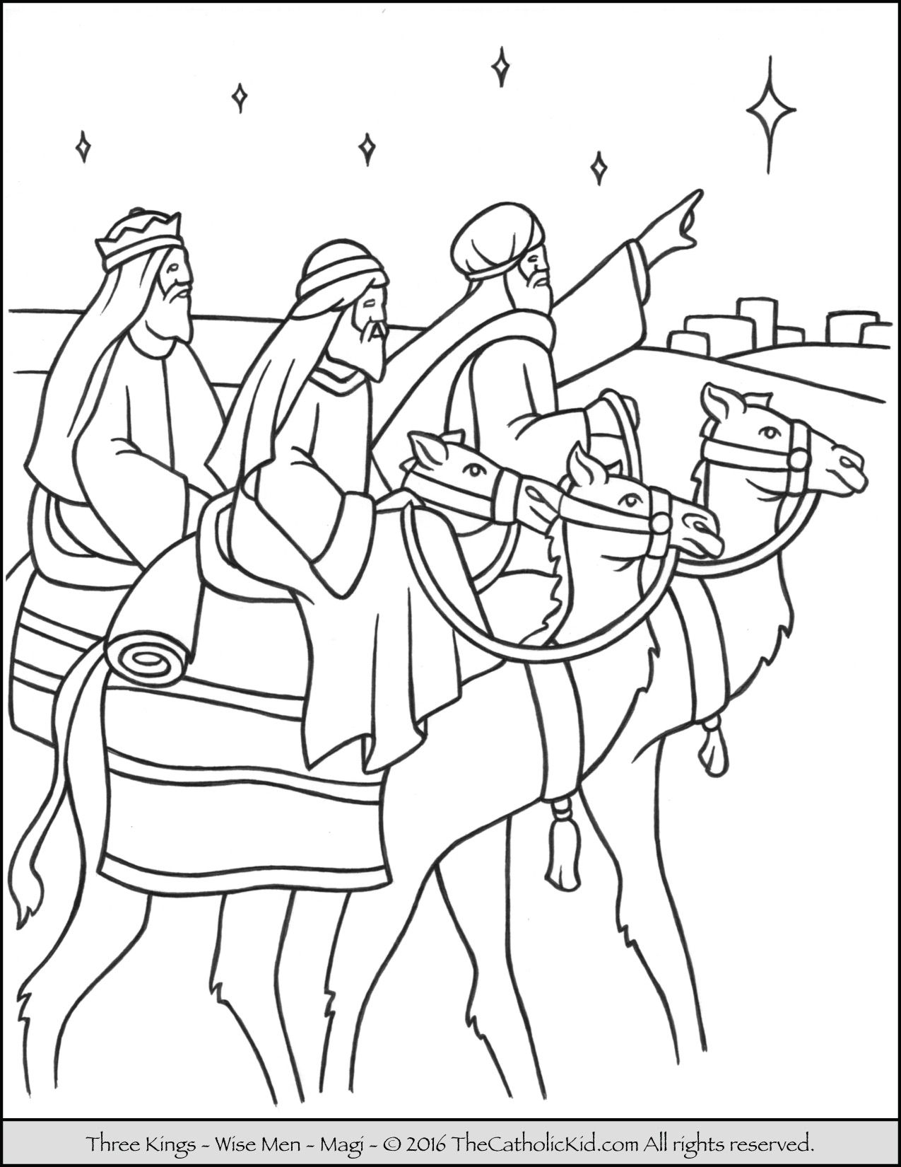 Three Kings Magi Wise Men Coloring Page Thecahtolickid Com