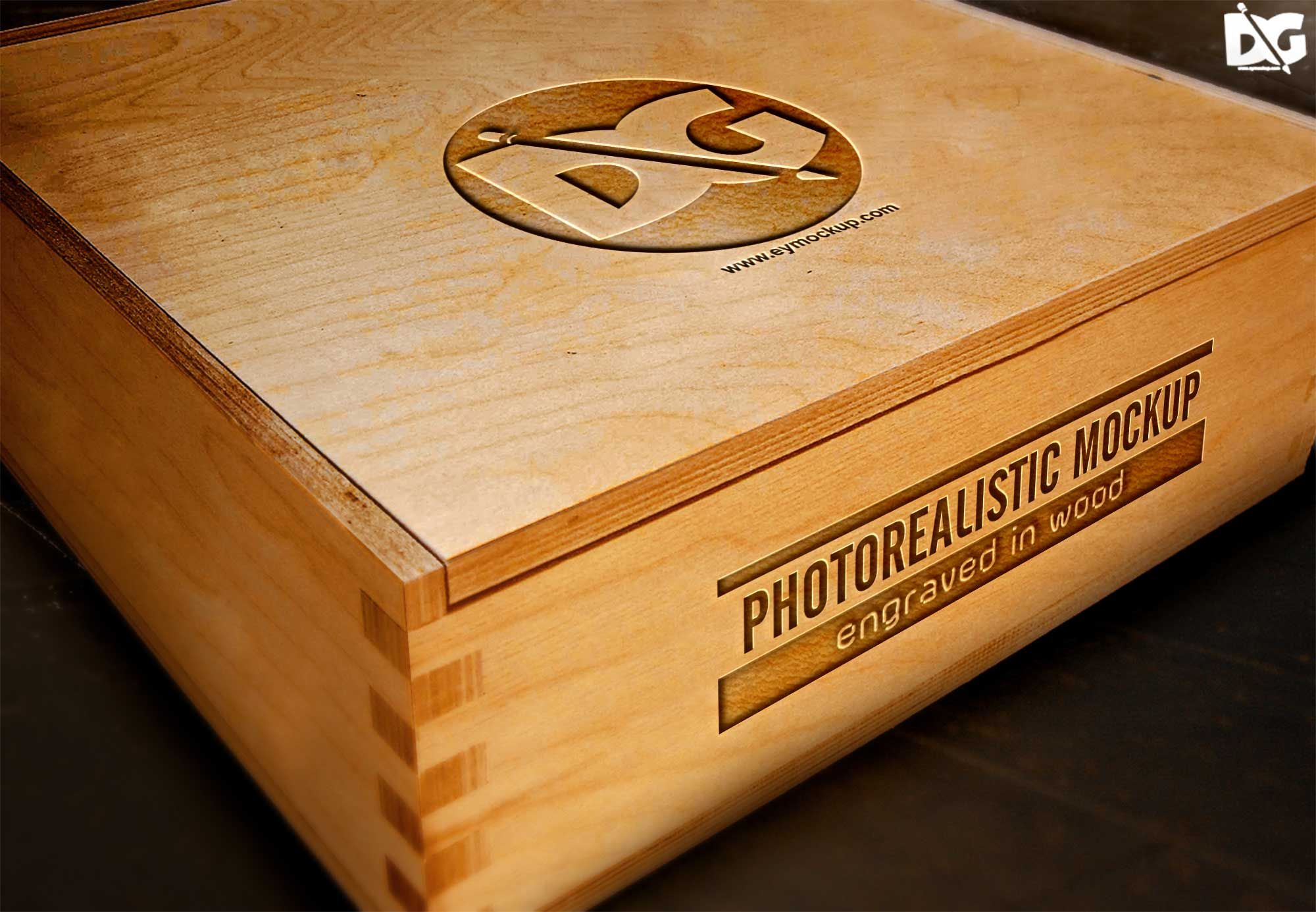 Download Engraved Wood Box Logo Mockup Logo Mockup Free Logo Mockup Mockup Free Psd