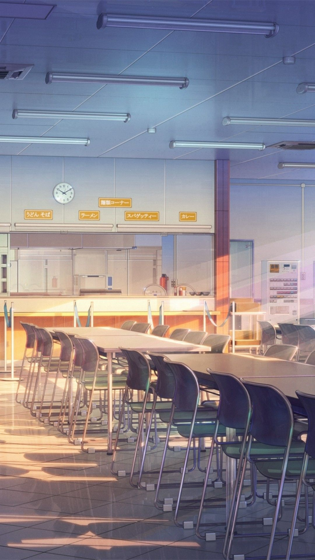 Aesthetic anime theme illustration of a boy and girl. Anime Building School Cafeteria Sunshine Windows Artwork ...
