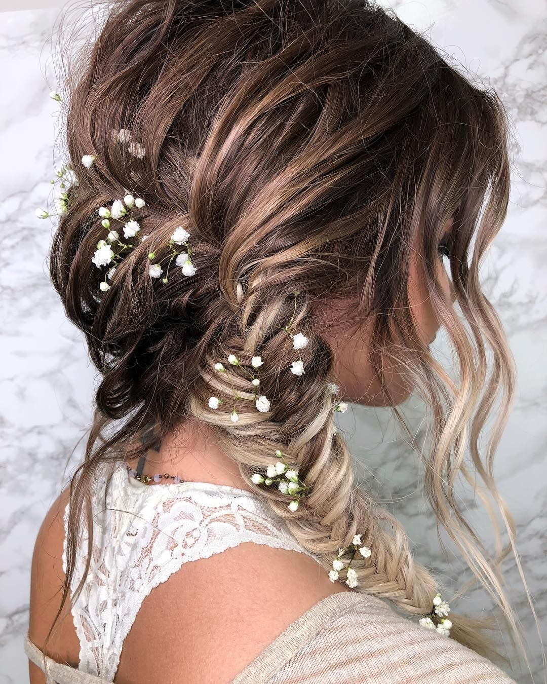 5 Hairbrushes Defying The Undone Hair Trend: Gorgeous Undone Fishtail Braid Wedding Day Hair Style By