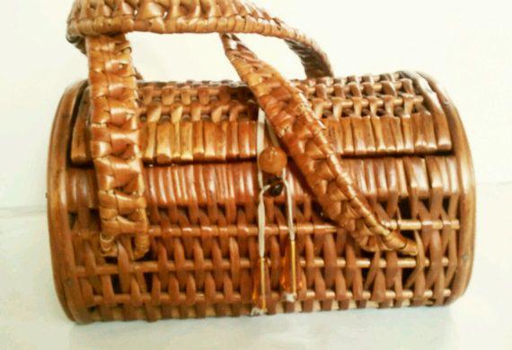 Vintage Wicker Basket Purse, Picnic Style, Handbag $50