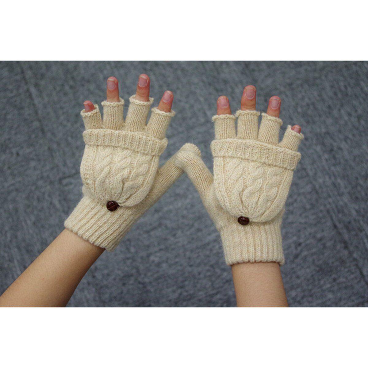 Women Men Winter Warm Fingerless Gloves Flap Cover Fleece Mittens