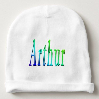 Arthur name logo baby boys white cotton beanie baby beanie arthur name logo baby boys white cotton beanie baby beanie white gifts elegant diy negle Image collections