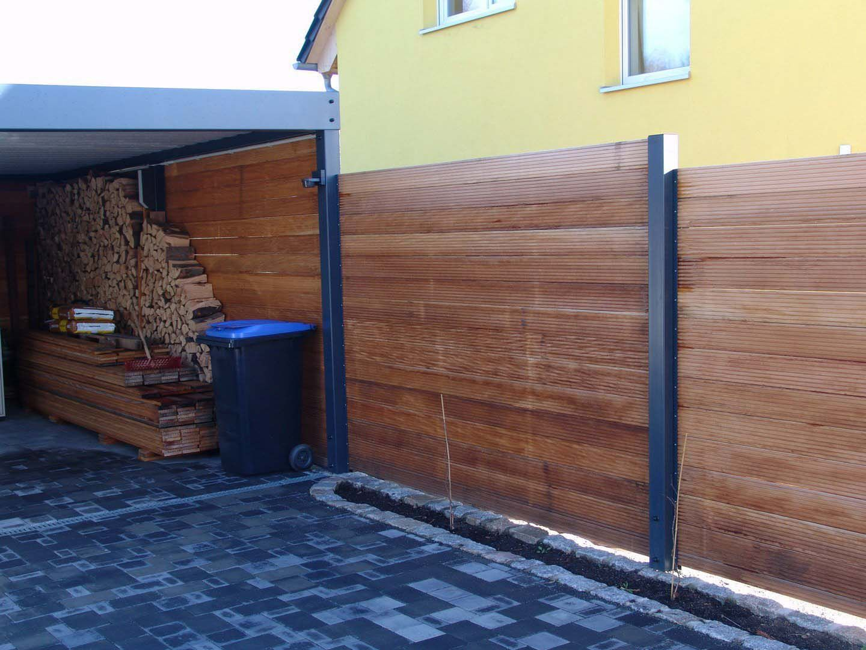 sichtschutzzaun holz metall carport anbau verlängerung lärche höhe