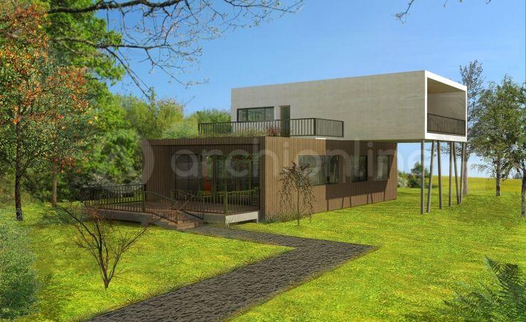Maison container - Plan de maison Moderne par Archionline | Design ...