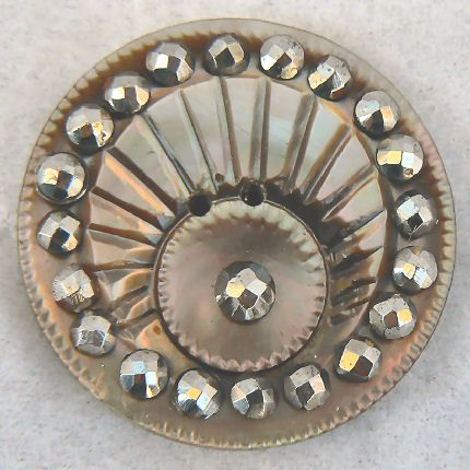 carved..cut steel smokey vintage pearl button...