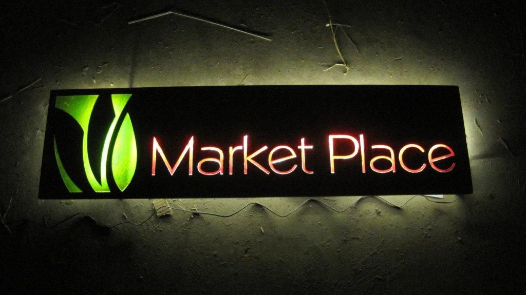 Steel And Inlayed Colored Glass Signage Laser Cut Words
