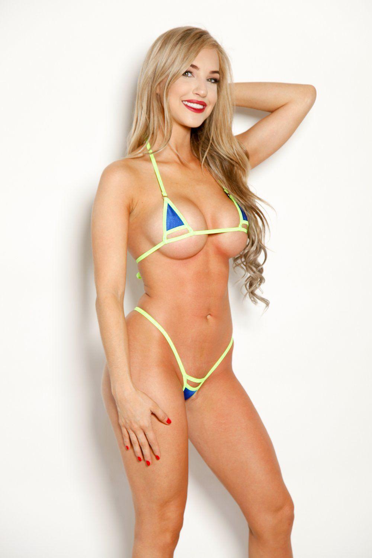 36e5f21d747b8 Bitsys Bikinis Aqua Blue Foil Neon Green String Peek a Boo Extreme Bikini  Shop Online
