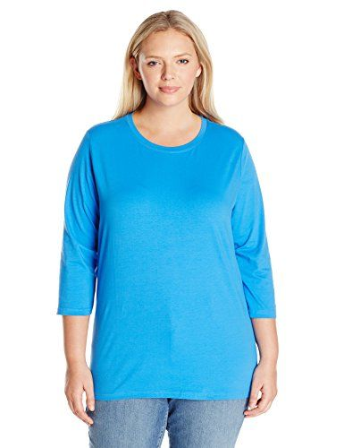 f7acdf087ef58a Fresh Womens Plus Size 34 Scoop Neck Tee W Satin Trim Blue Label 3X ...