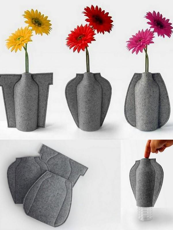 Turn waste plastic bottles into vases of texture flower for Flower pot making with waste material