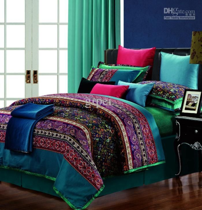 Egyptian Cotton Vintage Paisley Comforter Bedding Set King Queen Size Satin Duvet Cover Bed In A Bag Sheet Bedspread Bedroom Quilt 30 Design Victorian Bedding C King Bedding Sets Paisley Bedding