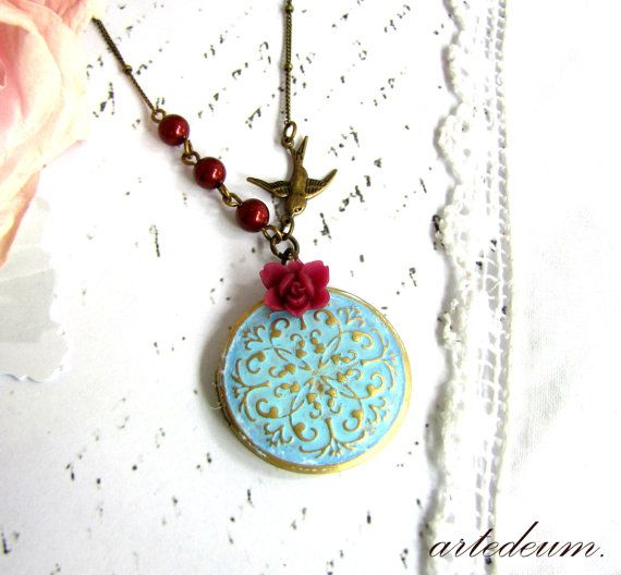 Locket necklace swallow dark red Blue romantic gift for her Antique bronze Blue Turquoise Gold Photo keepsake Vintage locket Bordeaux