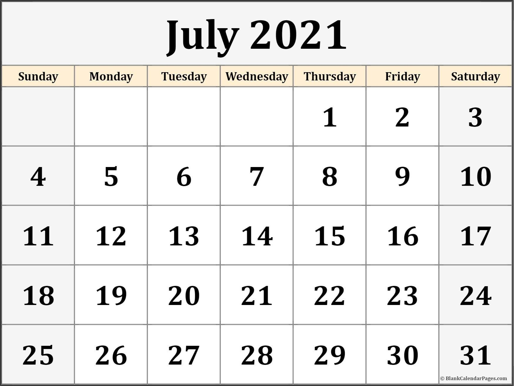 Printable Calendar For July 2021 July 2021 Calendar Printable Blank – Allowed to our blog site