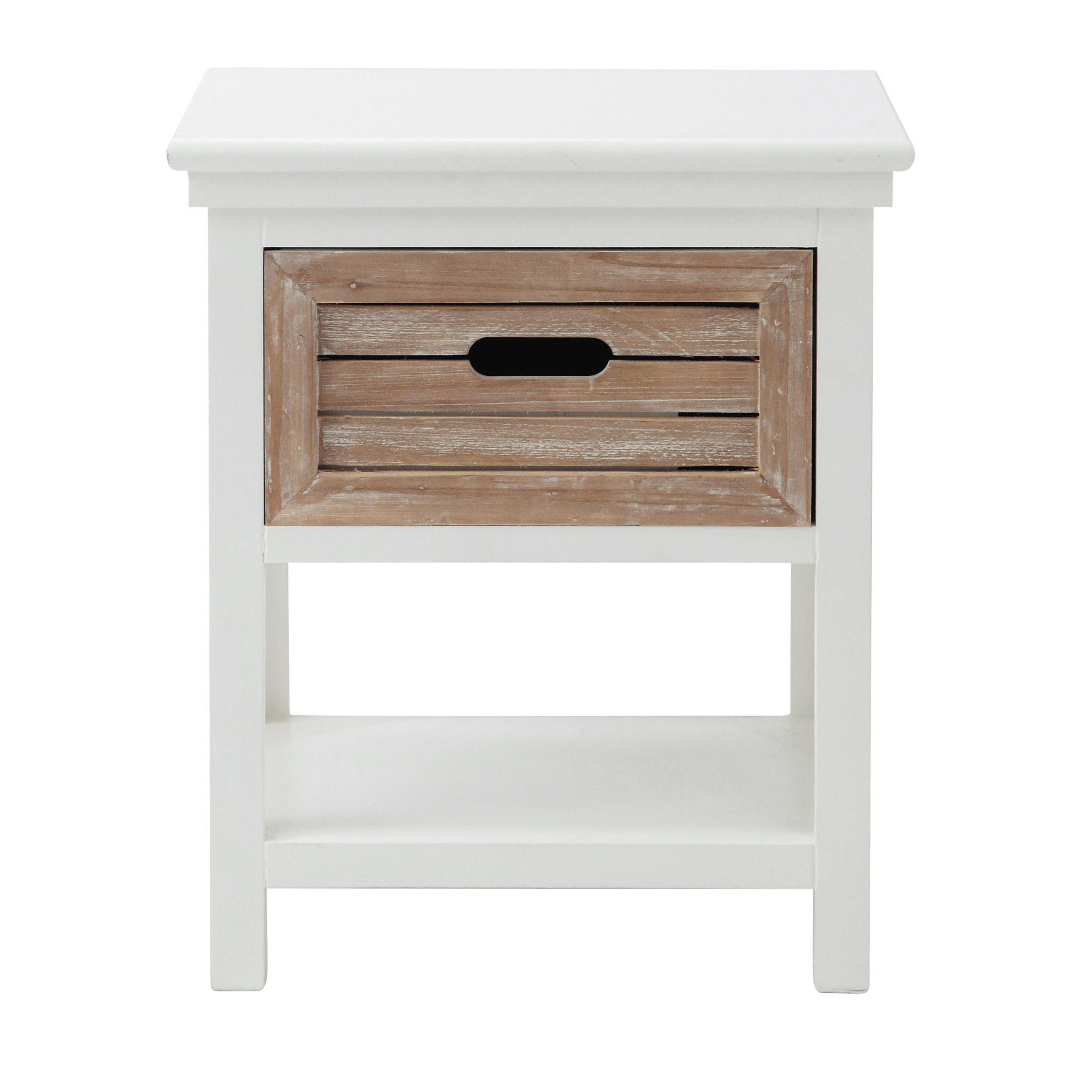table de chevet avec tiroir en bois blanche l 40 cm ouessant