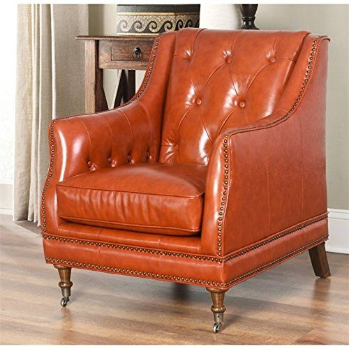Best Abbyson Living Jordan Top Grain Waxed Leather Chair In 400 x 300
