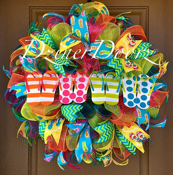 d5cafc215393 MARCH MADNESS SALE Flip Flop Fun deco mesh Wreath by DzinerDoorz ...