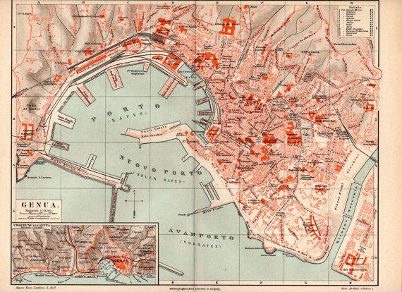 1894 Genoa Antique City Map Vintage Lithograph Genova Genua Italy