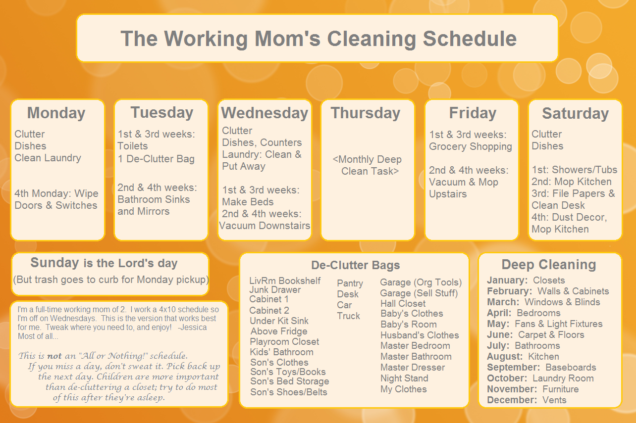 The Working Mom's Cleaning Schedule | Organizing | Pinterest