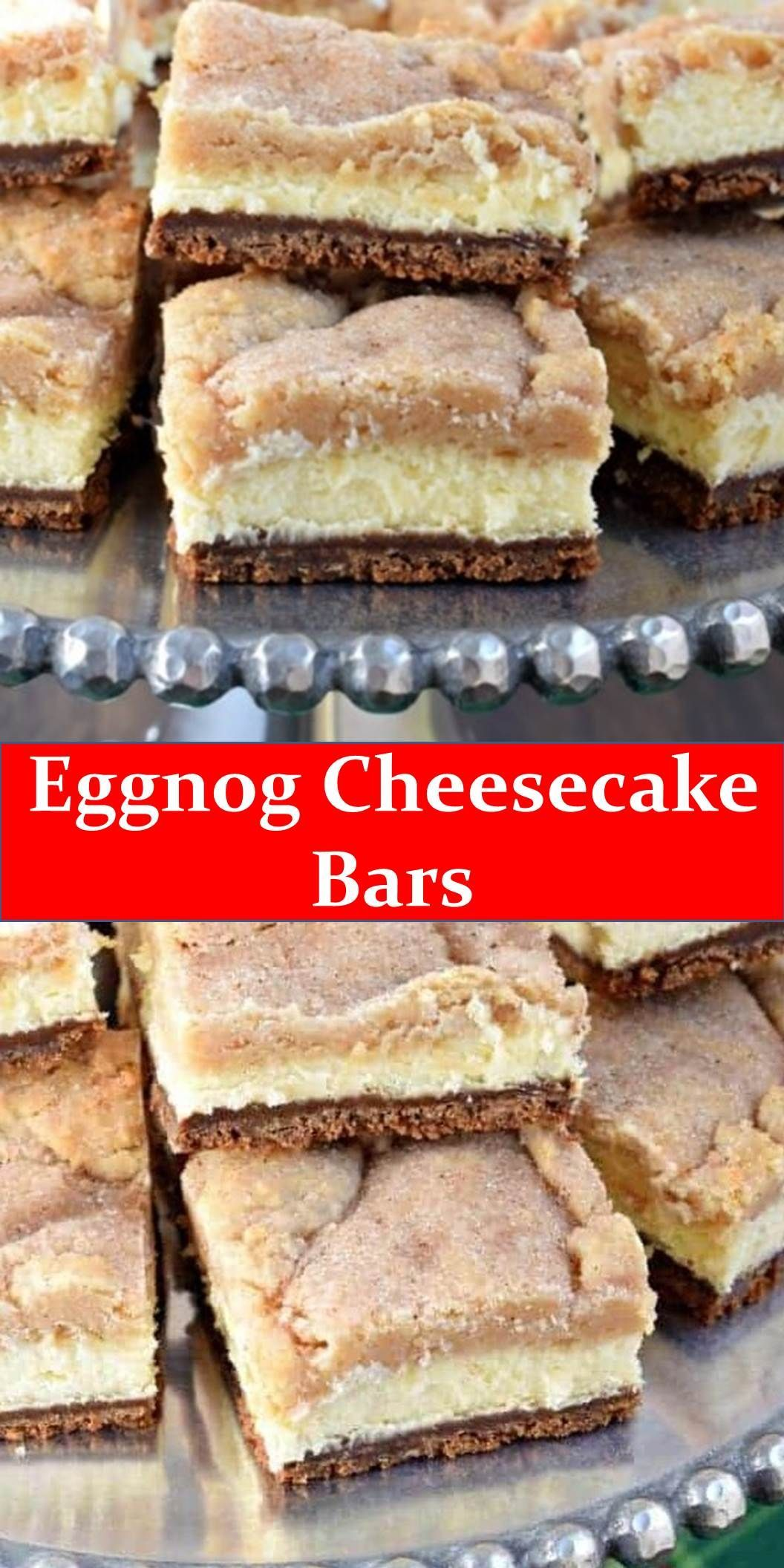 #Dessert #Eggnog #Cheesecake #Bars Your family's favorite food and drink ! Eggnog Cheesecake Bars  Layers of gingersnap crust, creamy eggnog cheesecake filling, and topped with cookie bars, these Eggnog Cheesecake Bars are a holiday must.  #Best #Vegas #Recipe! #BestVegasRecipe! #eggnogcheesecake #Dessert #Eggnog #Cheesecake #Bars Your family's favorite food and drink ! Eggnog Cheesecake Bars  Layers of gingersnap crust, creamy eggnog cheesecake filling, and topped with cookie bars, these Eggnog #eggnogcheesecake