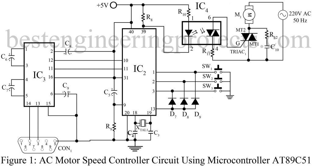 AC Motor Speed Controller Circuit Using AT89C51 (With