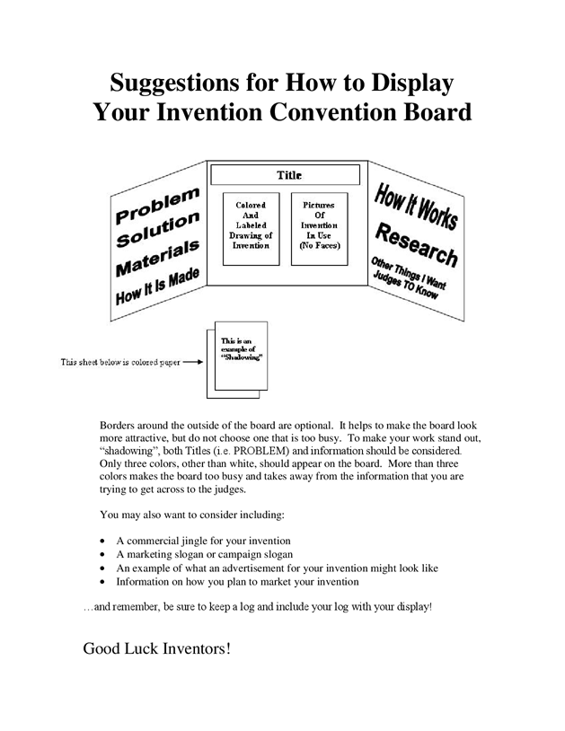 suggestions for how to display your invention convention