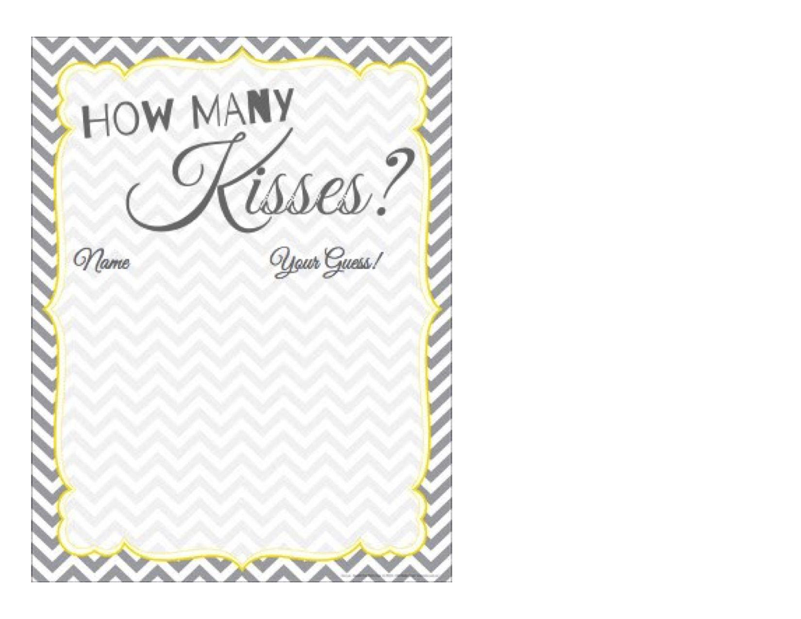 How Many Kisses Free Printable Guessing Paper