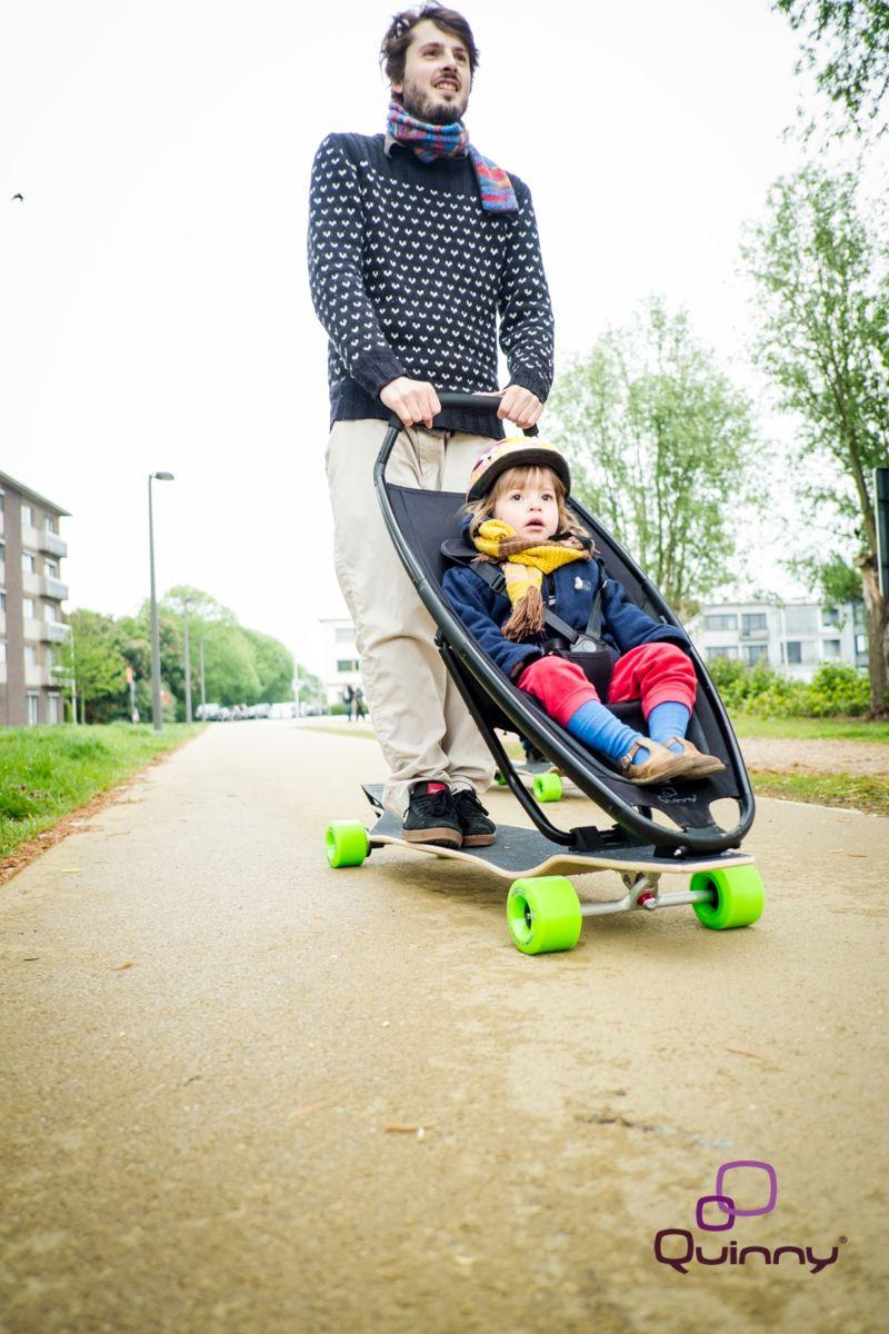 AuBergewohnlich Designer Kinderwagen U2013 Innovative Kombination Mit Longboard Von Quinny # Designer #innovative #kinderwagen #