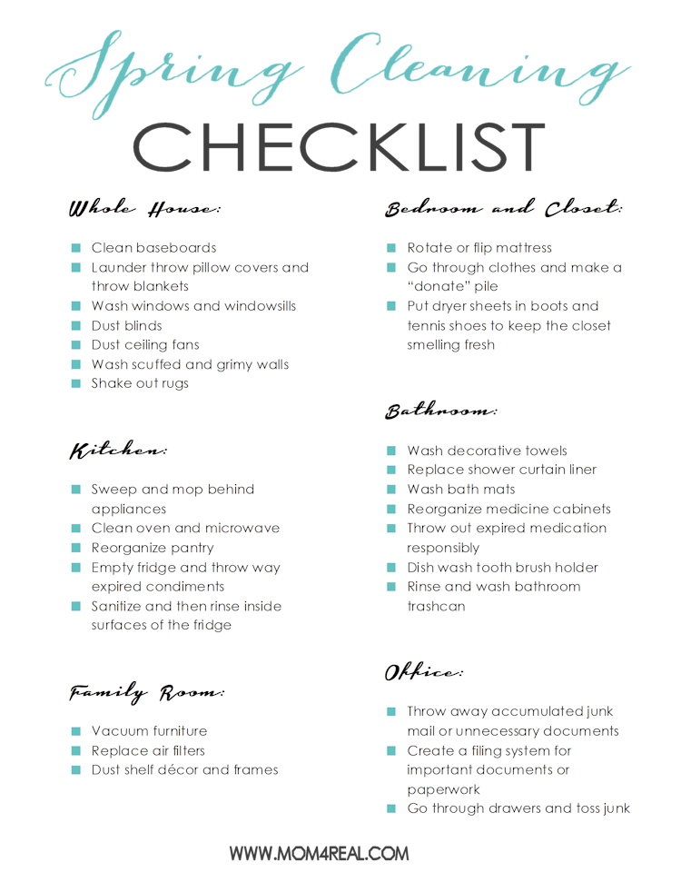 Free Printable Spring Cleaning Checklist  Cleaning Checklist