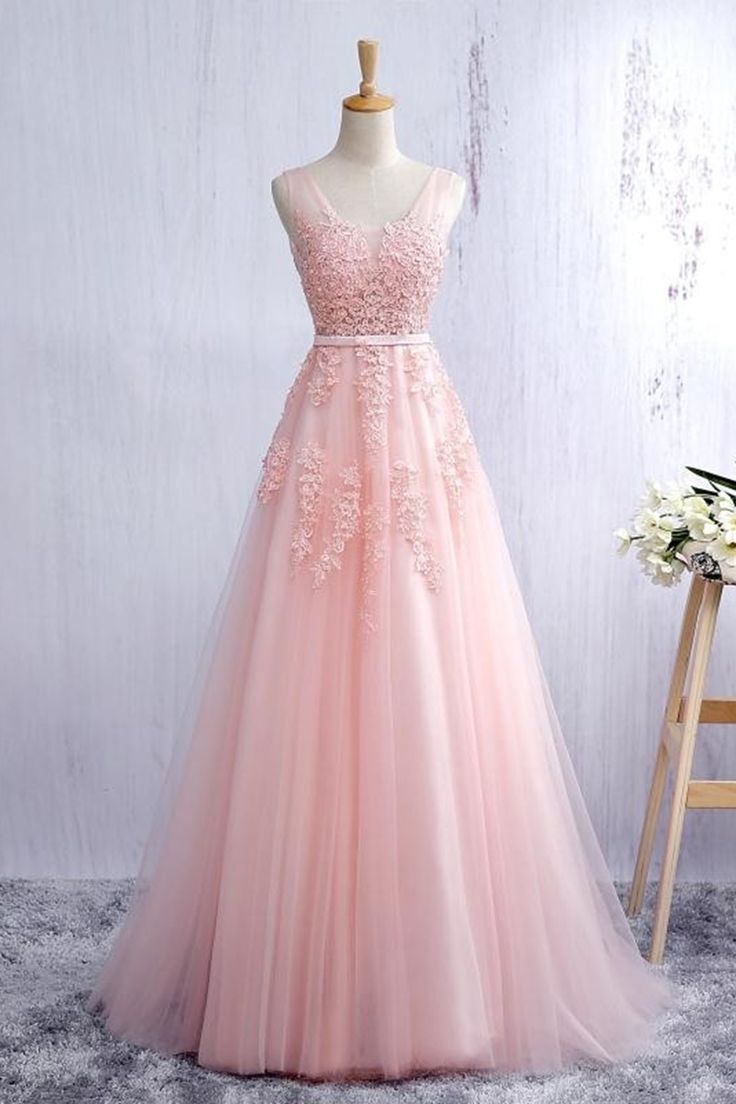 Lace applqiued pink tulle prom dress long prom dress for teens