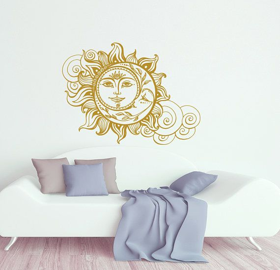 sun and moon wall decal crescent moon decor ethnic symbol decal