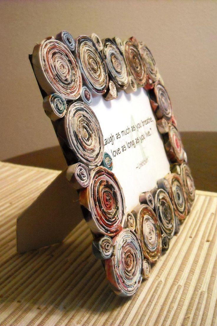 Recycled magazine frame - Marco porta-retratos hecho con papel de ...