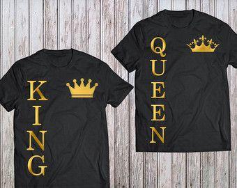 be2b4716f El rey su reina, rey reina parejas conjunto camisa, camisas de Rey Reina,  Rey Reina