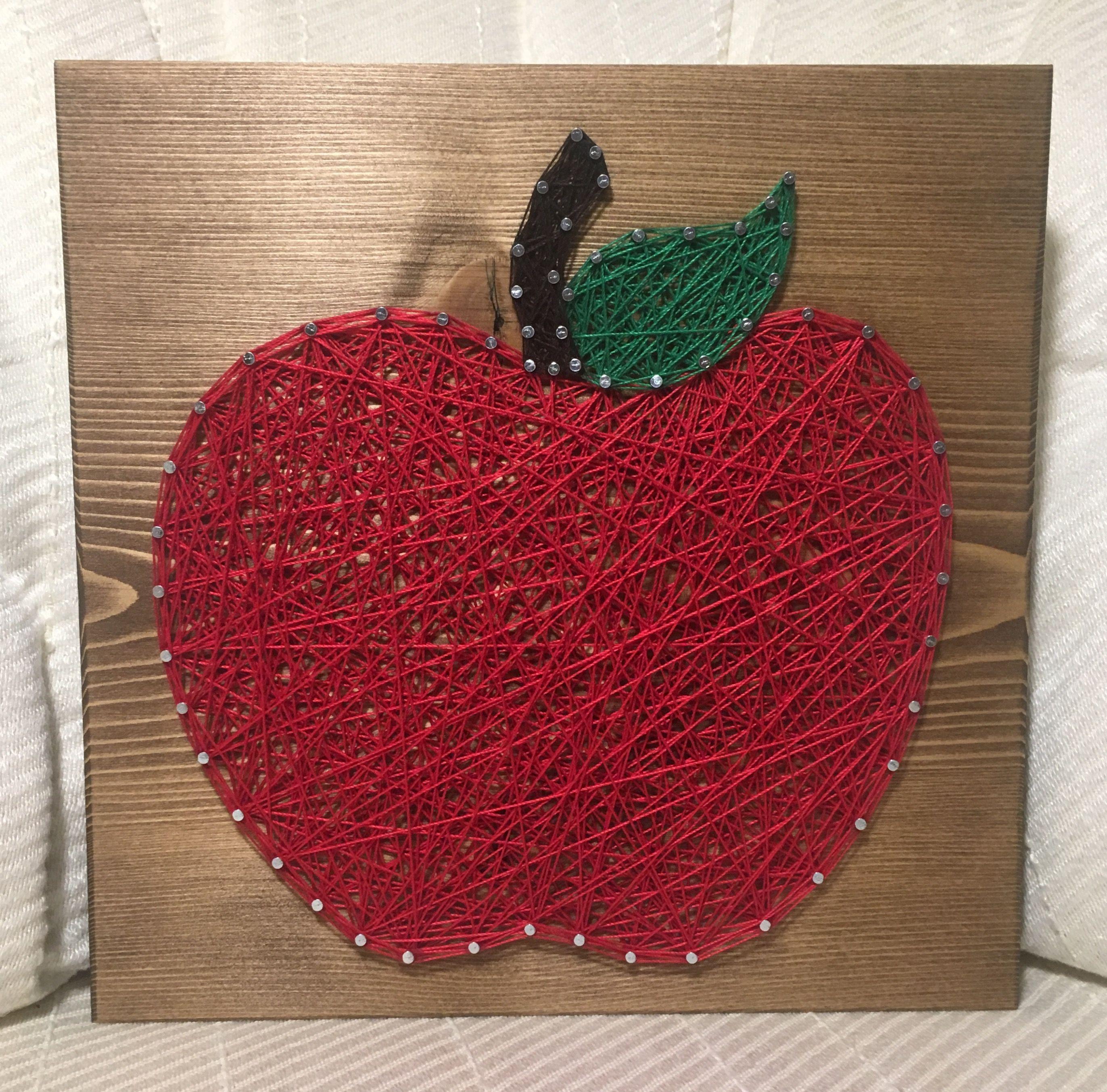 Apple Teacher String Art School Order From Kiwistrings On Etsy Wistringssy