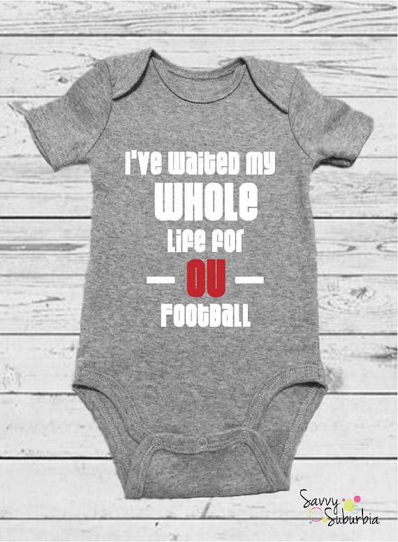 bfef4724c Ou Football, Football Onesie, Gerber Onesies, Funny Movies, Baby Wearing,  Our