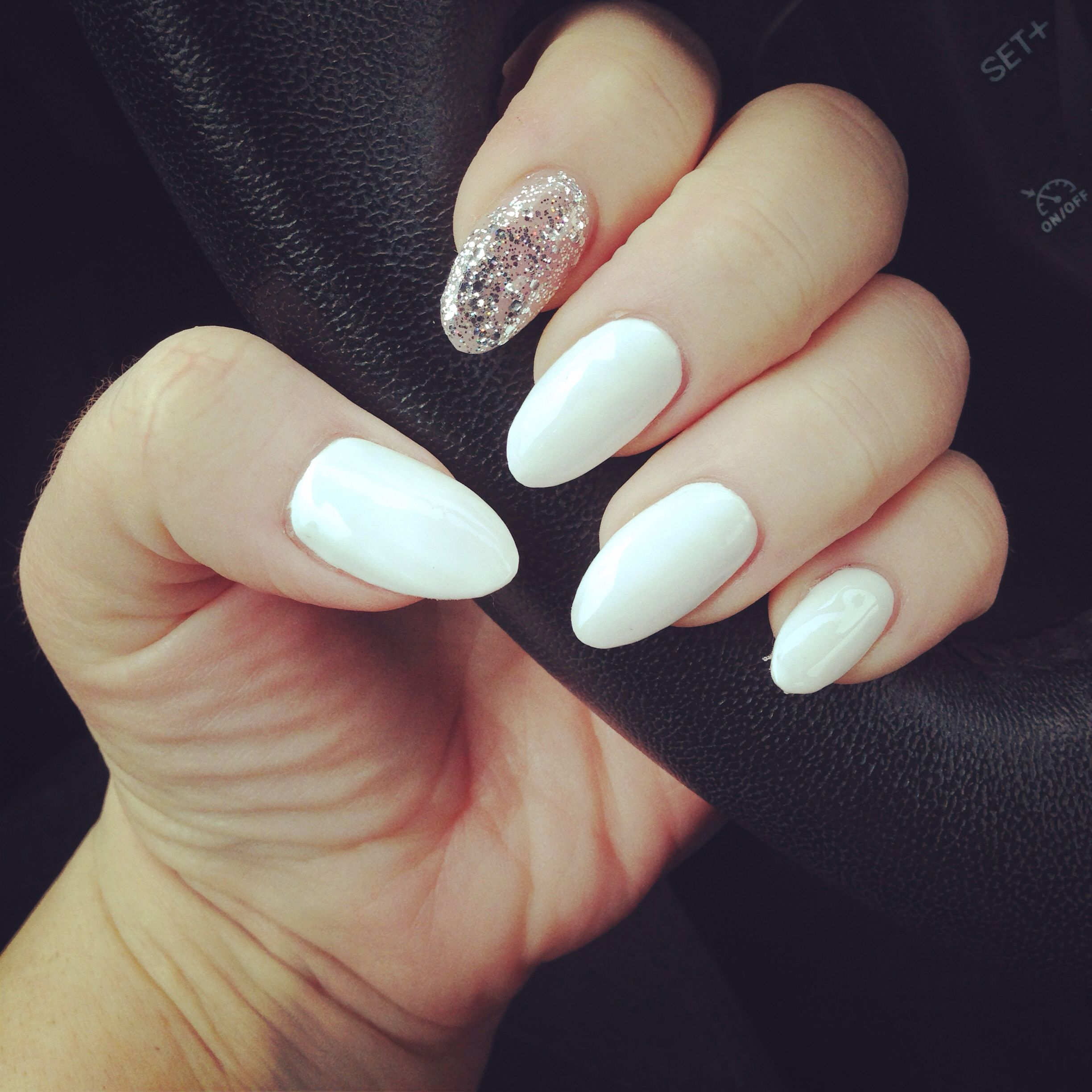 Pin By Heather Berg On My Nails Prom Nails Silver Pretty Nails Glitter White Almond Nails