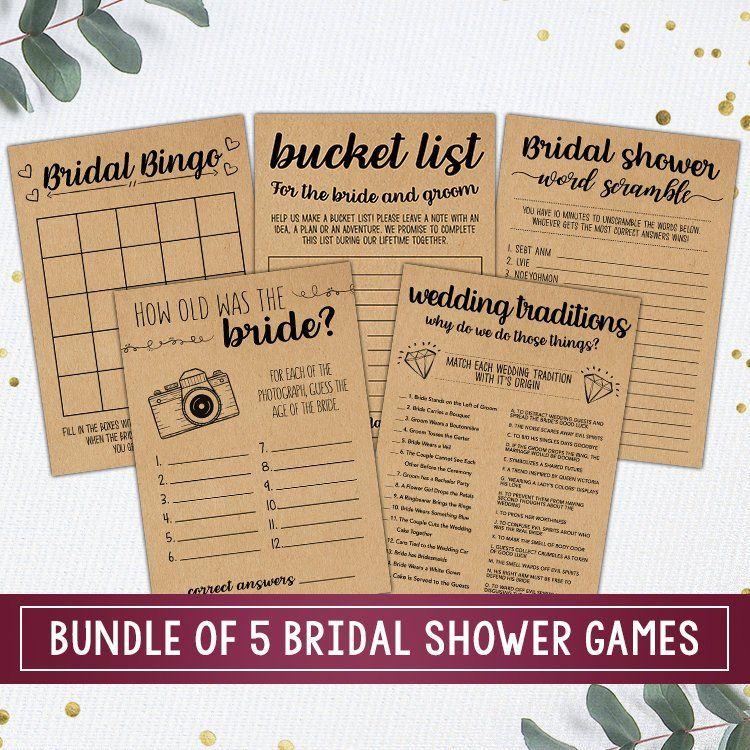 Shower Games Bundle Bridal Shower Games Printable Bridal