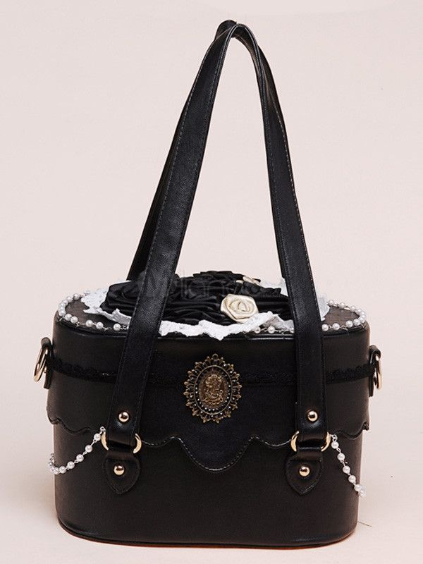 Black Pu Leather Roses Decorated Bag By Milanoo Types Of Cute Bags