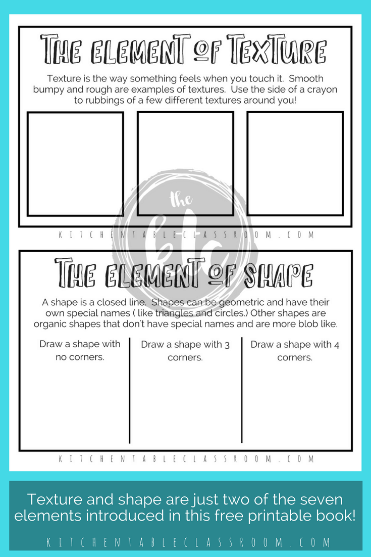 Elements of Art for Kids with free printable book | Outlines, Free ...