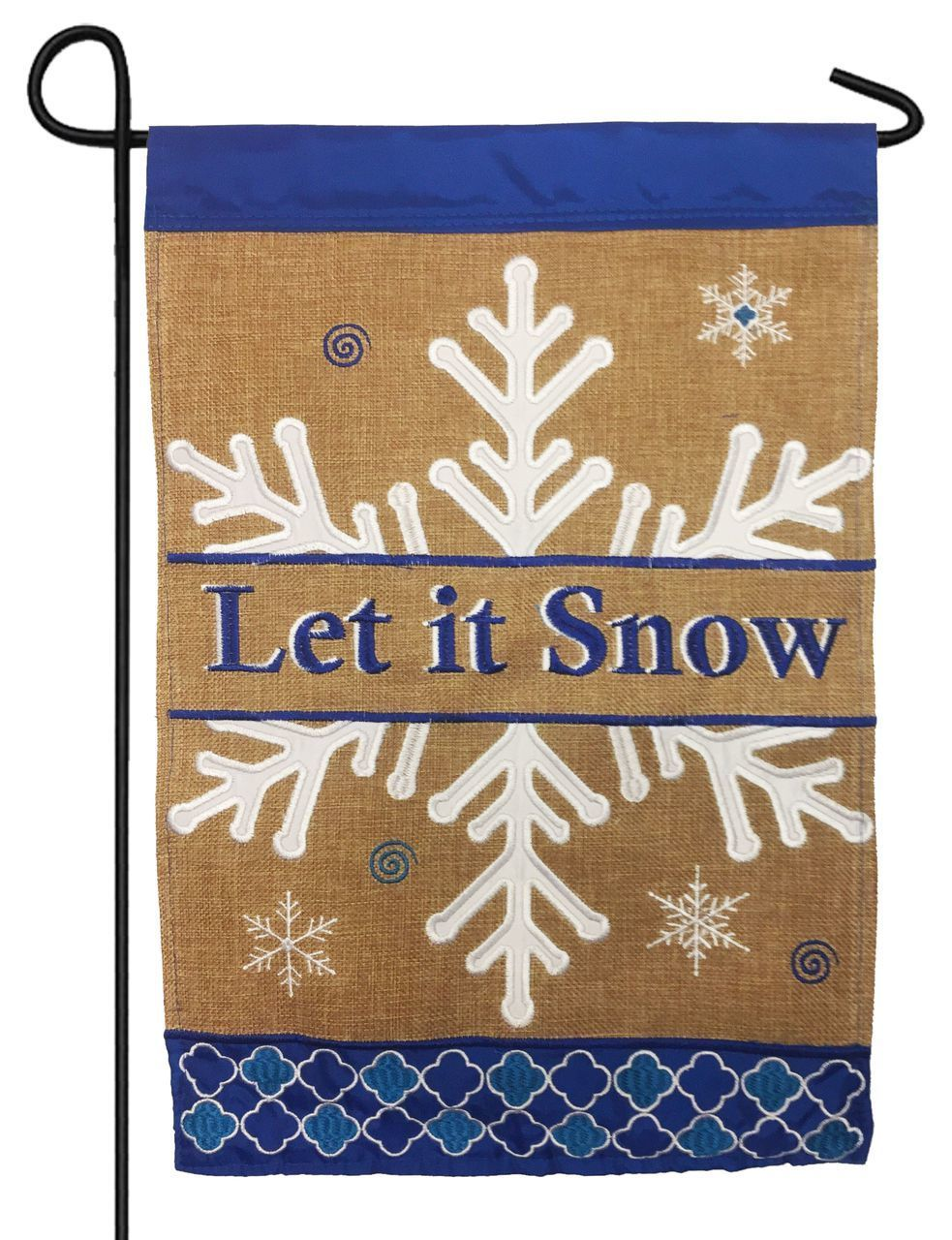Burlap Let it Snow Snowflake Double Applique Garden Flag | Flags ...